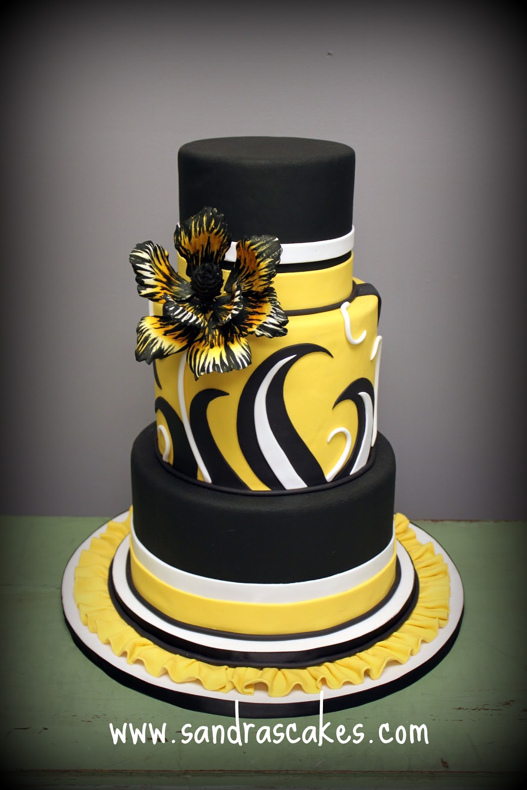 On Birthday Cakes Black And Yellow Wedding Cake