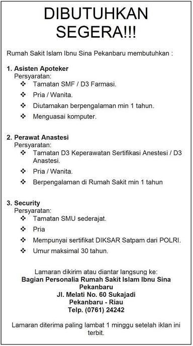 Rumah Sakit Ibnu Sina (Pekanbaru) ~ Akses Kerja