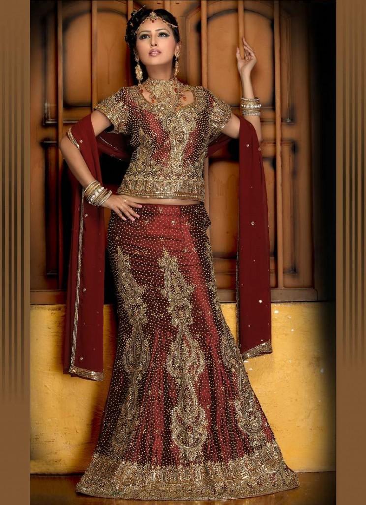 Bridal Wear Fishtail lehnga with Multi work 4 744x1024 Bridal Fishtail Lehnga