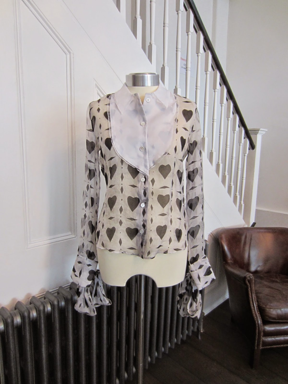 Viktor & Rolf Black & White Hearts & Diamonds Print Blouse