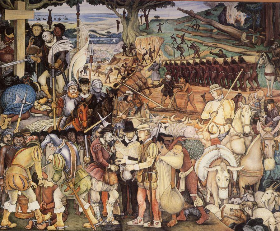 «La conquista española de la nación azteca». Mural de Diego Rivera (1886 - 1957).