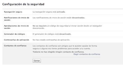 configuración de seguridad recomendada para facebook
