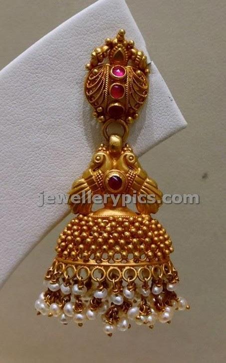 gold buttalu temple earrings design