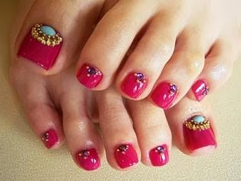 Hot candy pink turqouise with micro beads then teardrop for Acrylic toe nails salon
