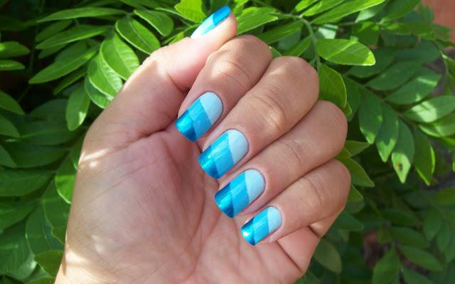 Esmalte em Degradê Diagonal Azul