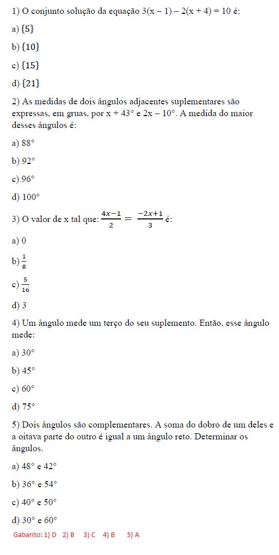 MANIA DE CALCULAR: Exercícios sobre equação do 1º grau e