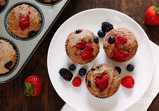 Mixed Berry Whole Wheat Muffins | Skinnytaste