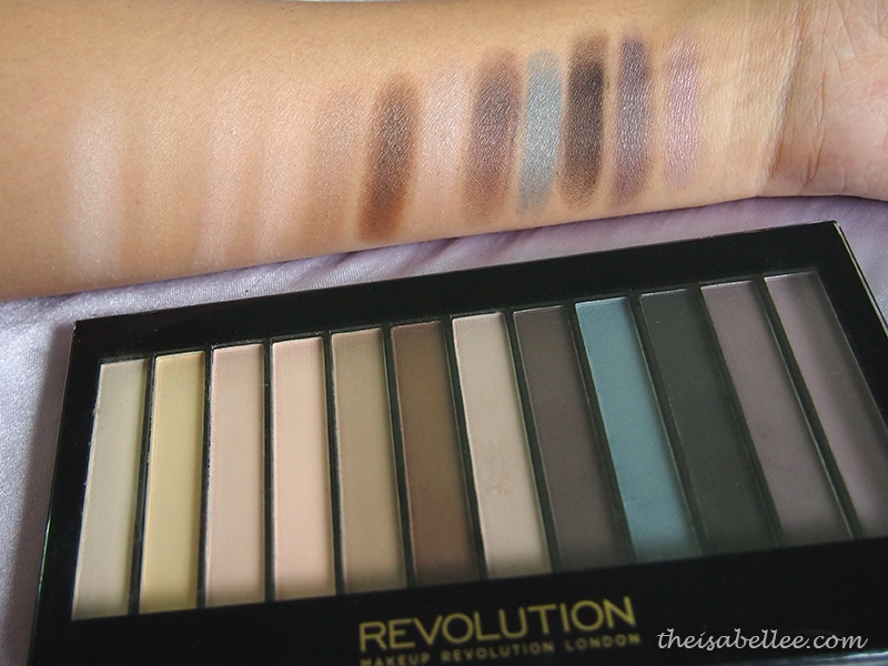 Swatch of Makeup Revolution Redemption Palette Essential Mattes