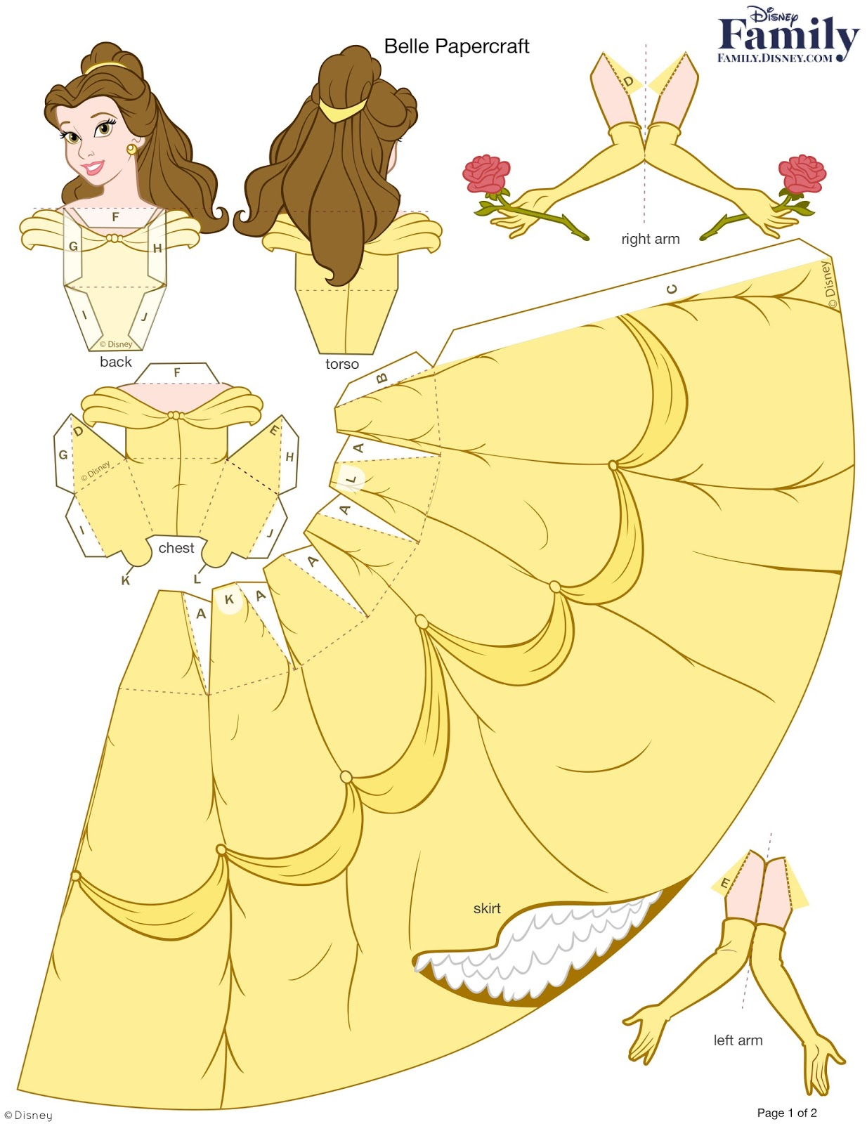 "<img src=""http://family.disney.com/crafts/belle-papercraft.jpg"">Molde Personalizado Princesa Bella 3D paper craft"
