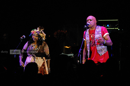 the late Ruby Hunter with Archie Roach, as part of the Black Arm Band. Fremantle 2008. Copyright Sheldon Levis 2011