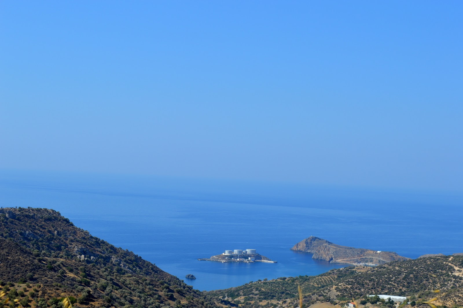 View of the beach of kaloi limenes south of Crete. Note the oil storage.