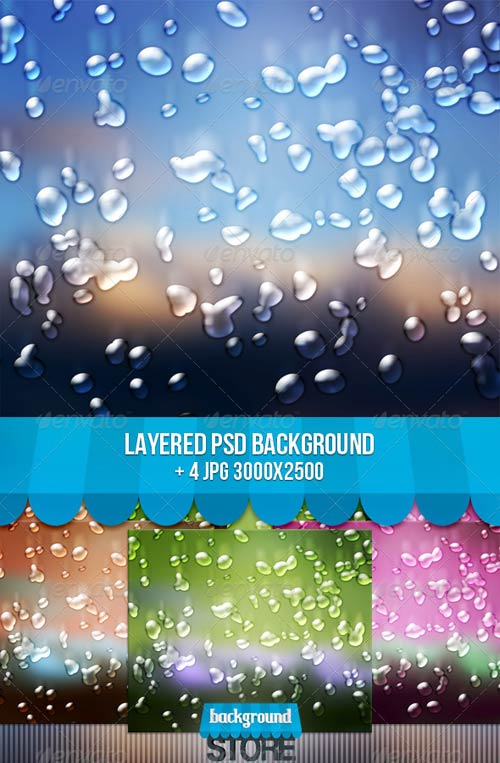 Water Drops Background Photoshop PSD