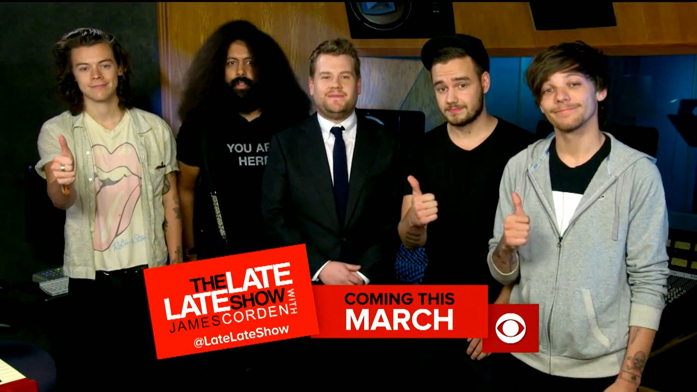 one direction, james corden, harry styles, liam payne, louis tomlinson,  the late late show