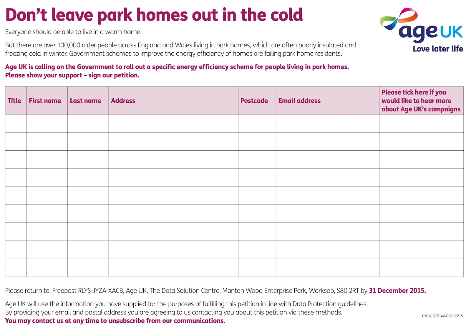 Park Home Owners Justice Campaign AGE UKs NEW CAMPAIGN FOR WARM