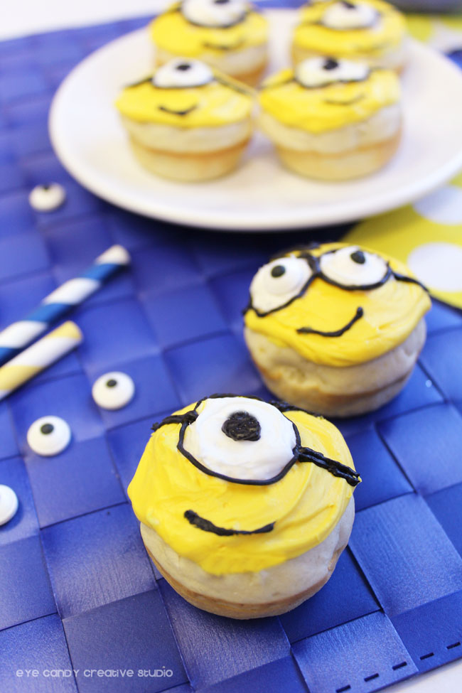 minions face, goggles, minions viewing party, movie release, donut recipe