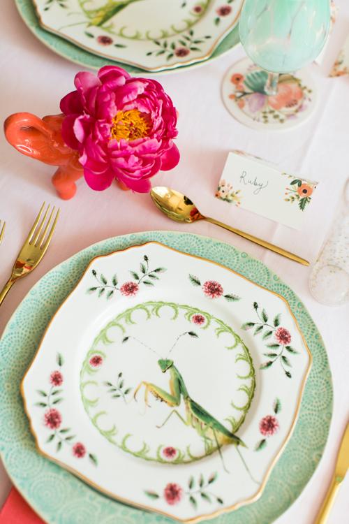 Flamingo Pop. A bridal collaboration with BHLDN and The House That Lars Built. Dinnerware and flatware from Anthro. Name tags from BHLDN. Flowers by Tinge. Photo by Jessica Peterson.