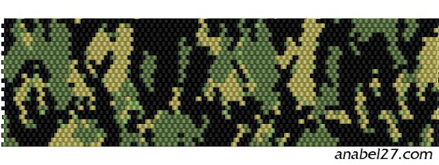 схема бисероплетения мозаика милитари камуфляж военный