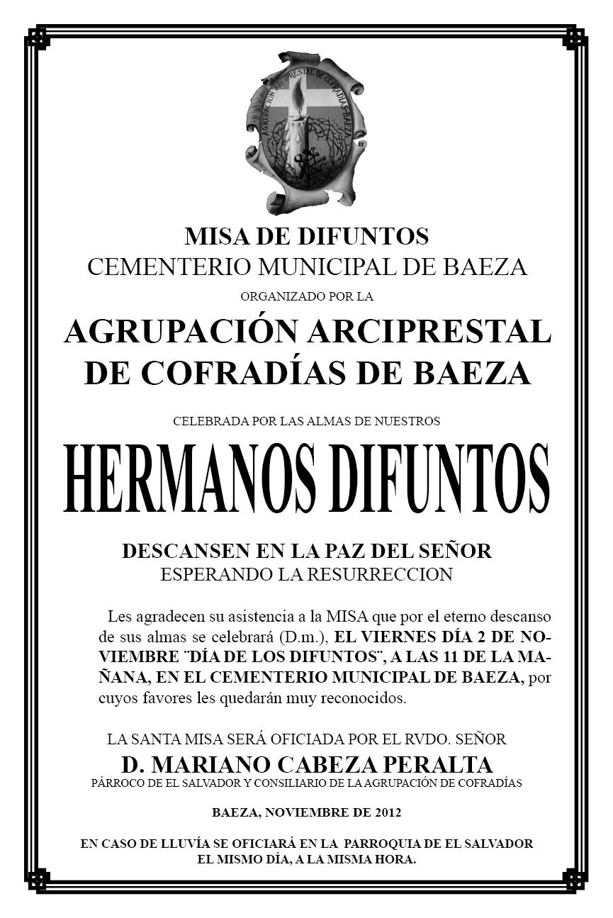 PARROQUIA EL SALVADOR DE BAEZA: MISA DE DIFUNTOS. AGRUPACIÓN DE ...
