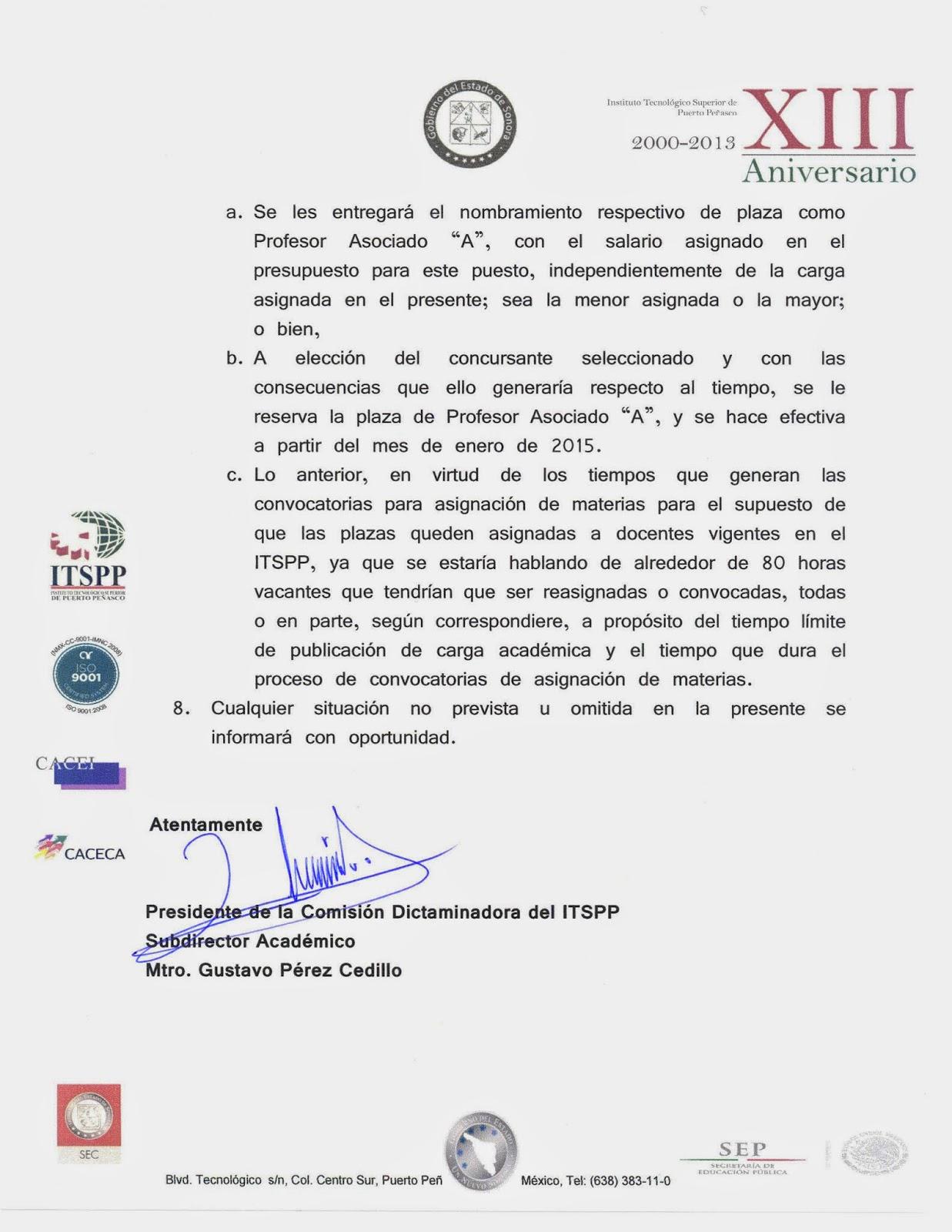 La gaceta del instituto tecnol gico superior de puerto for Convocatoria para plazas docentes