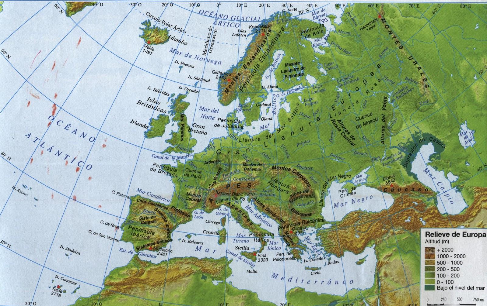 Mapa De Europa Montaas