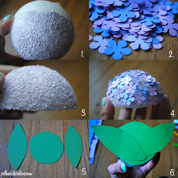 Paper hydrangea diy polka dots are love 2 while it dries punch your flowers 3 cut your ball in half using scissors 4 add your flowers to the ball using pins mightylinksfo