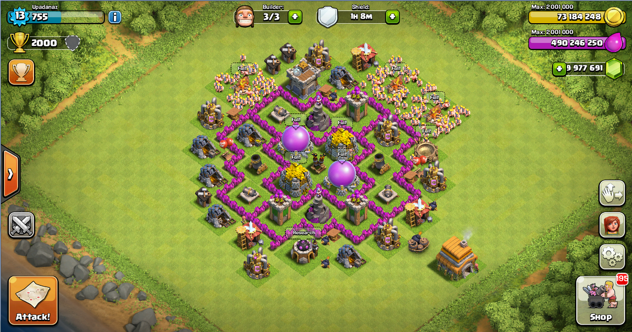 Farming base clash of clans th 6 layout design base clash of clans