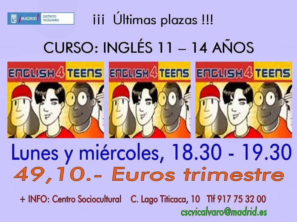 Taller inglés 11 a 14 años en Vicálvaro