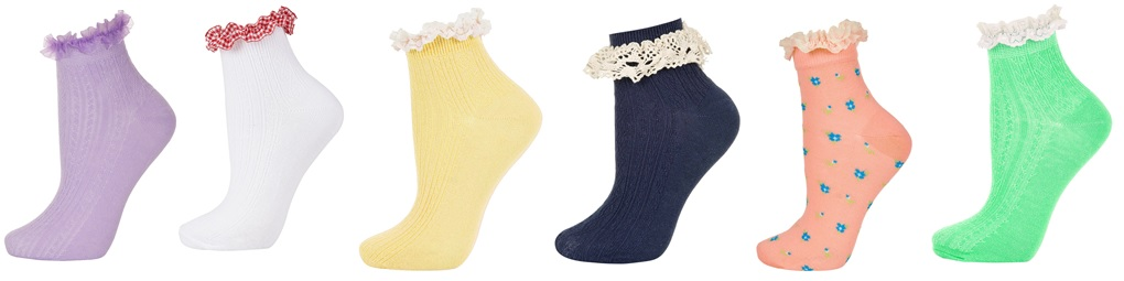 These types of socks come in an assortment of colors, patterns, and  different lace detailing around the ankle. They can be pulled off quite  easily. - Branching To Fashion: Frilled Socks
