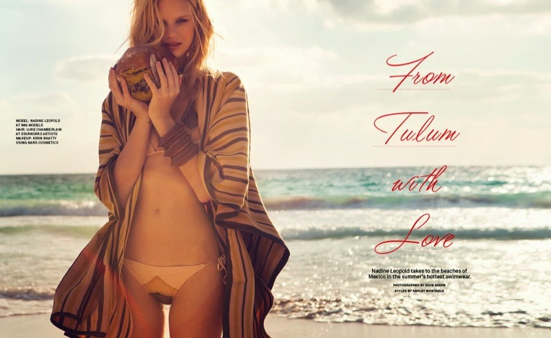 Nadine Leopold in beach looks for Foam Magazine May/June 2014