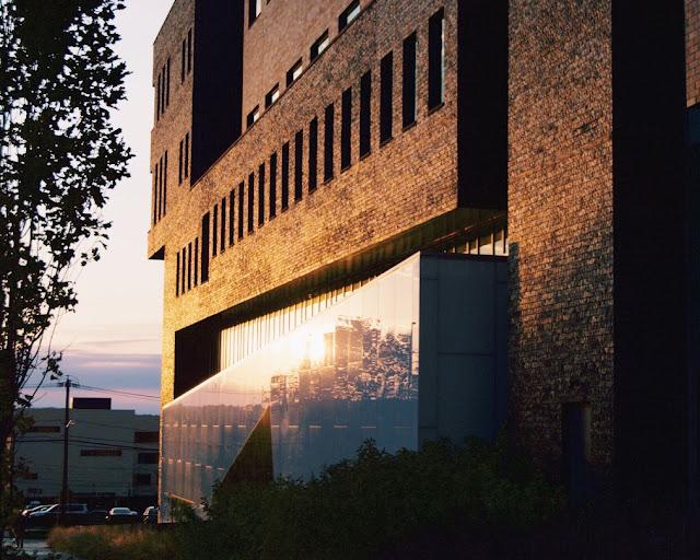 sunset light on side of building