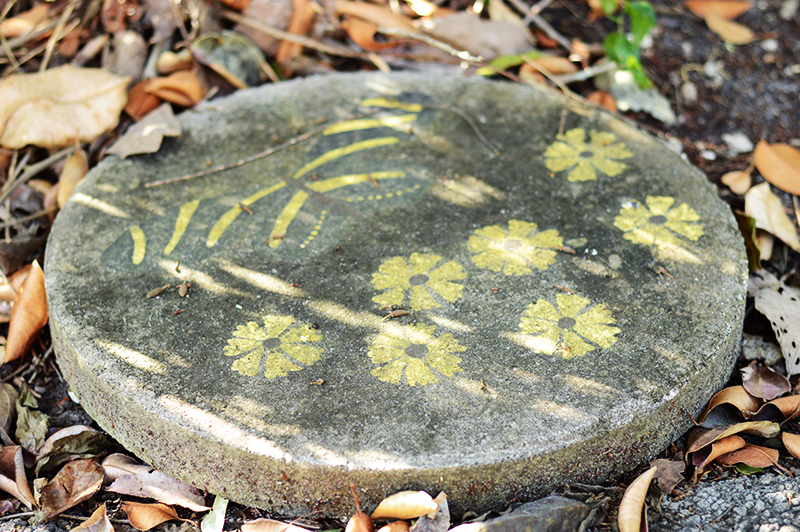 butterfly and flower on stone