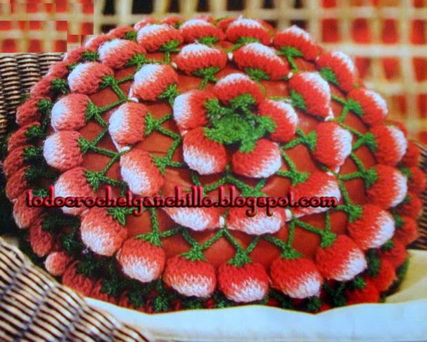 Maravilloso almohadón de frutillas paso a paso al crochet