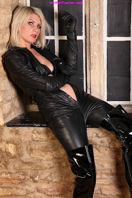Tight Black Catsuit and Thigh Boots for Hot Blonde