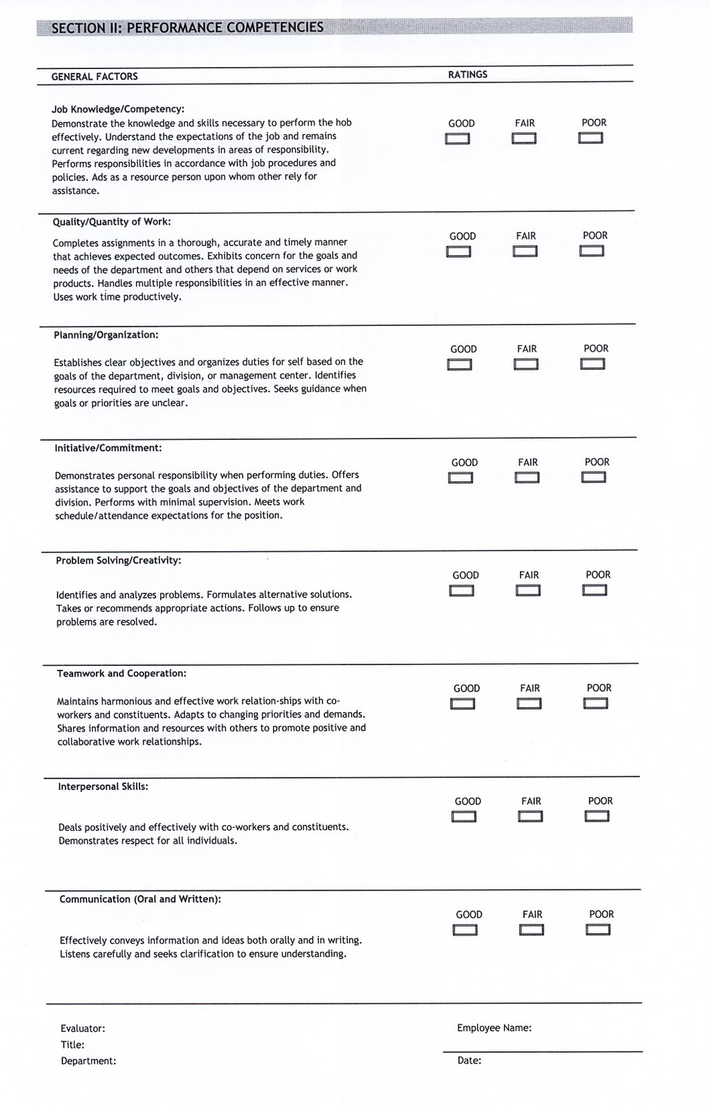 performance appraisal form template