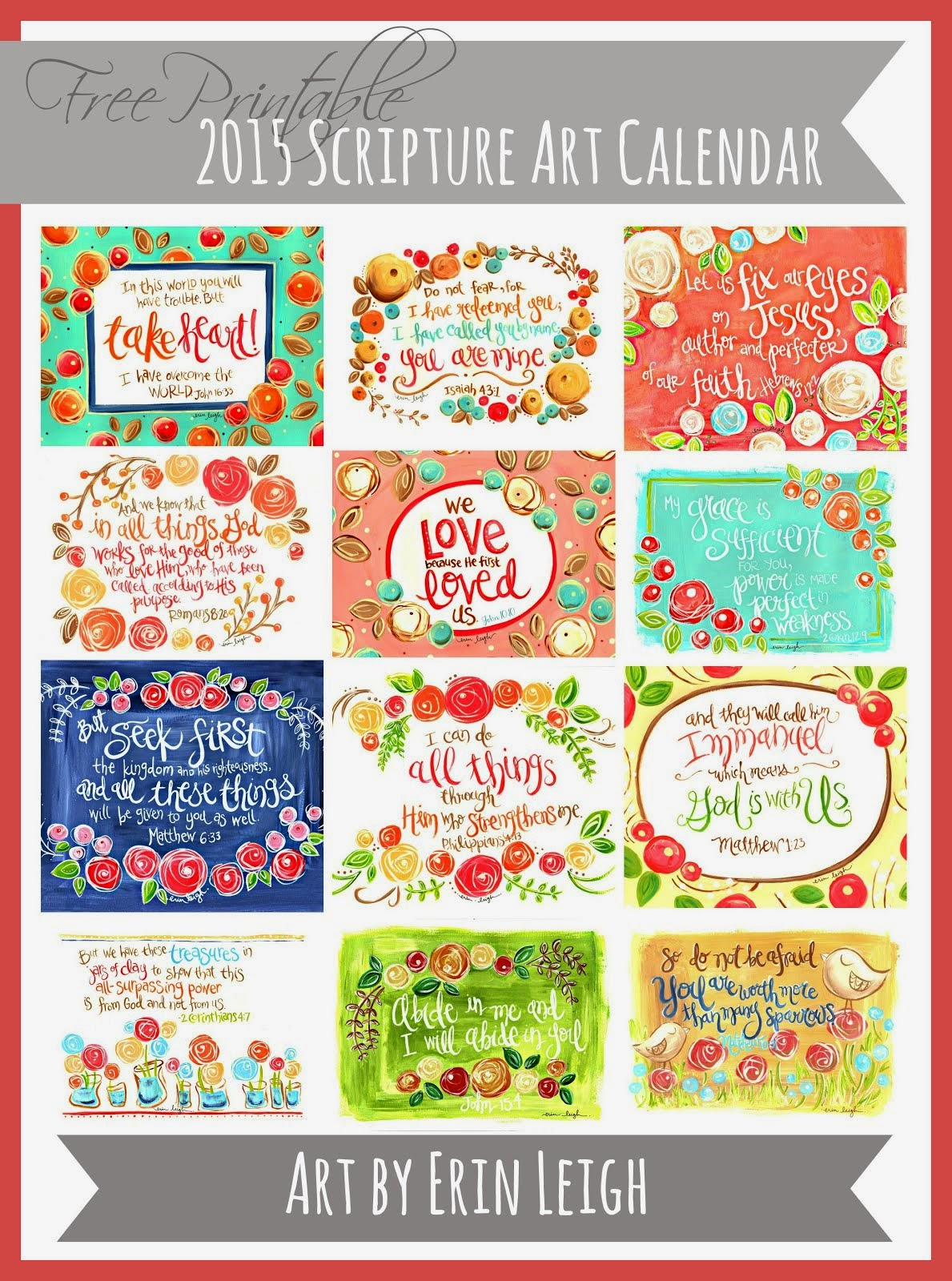 Free Printable 2015 Scripture Art Calendar