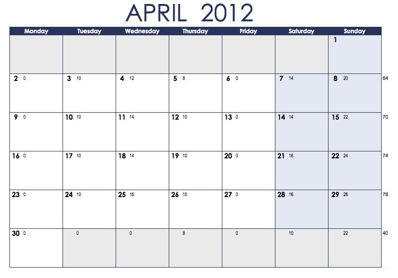 On my two feet: Training Calendar
