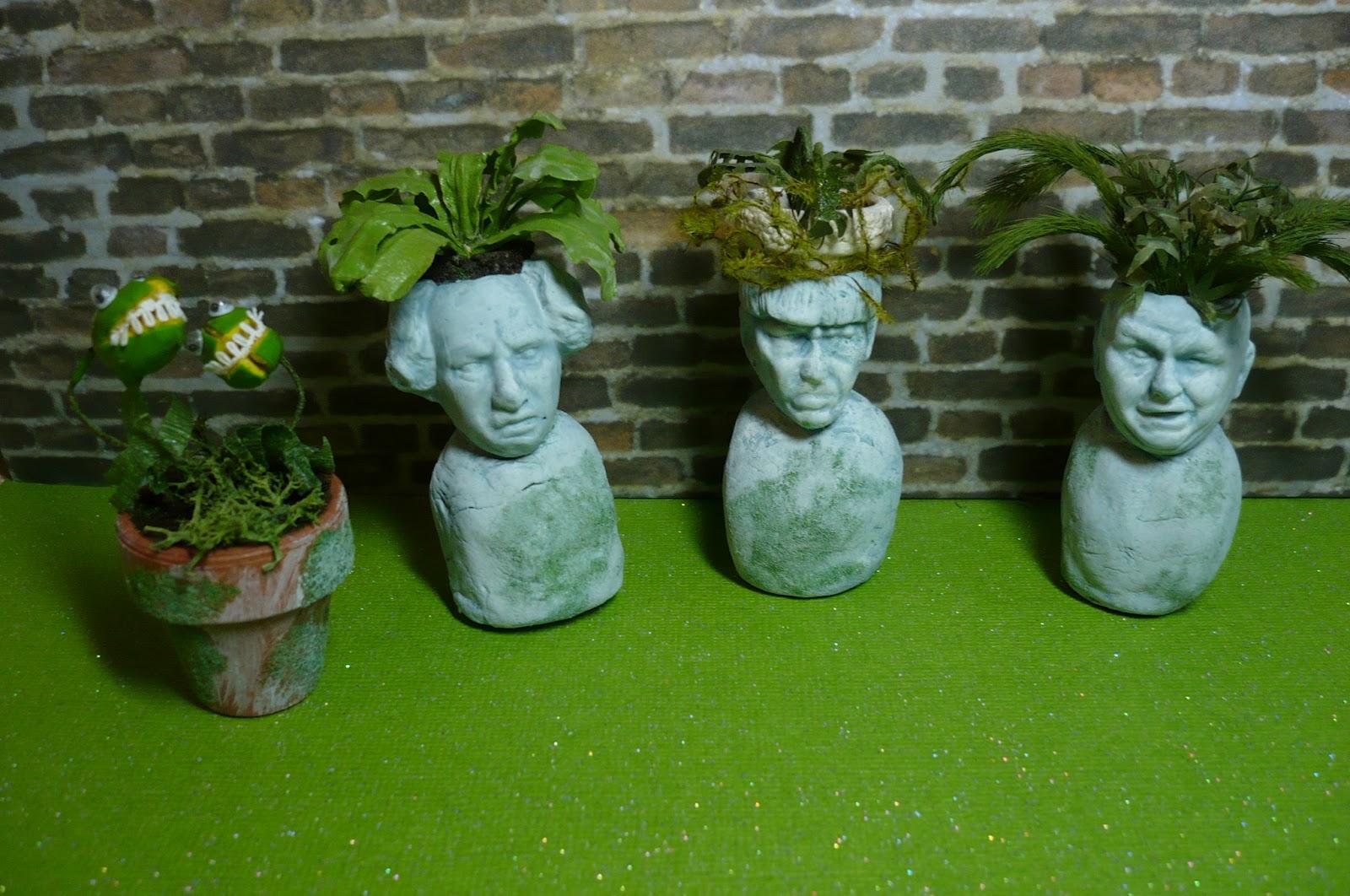 A Small Hearts Desire Miniature Stone Head Planters Finished