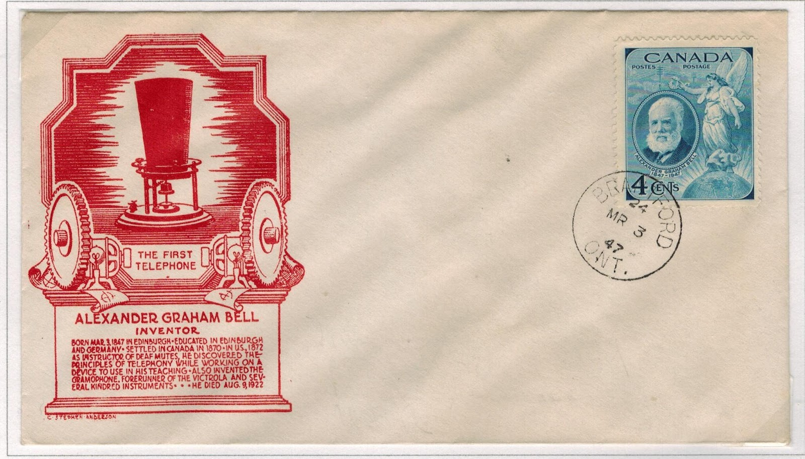 postal history corner alexander graham bell first day covers