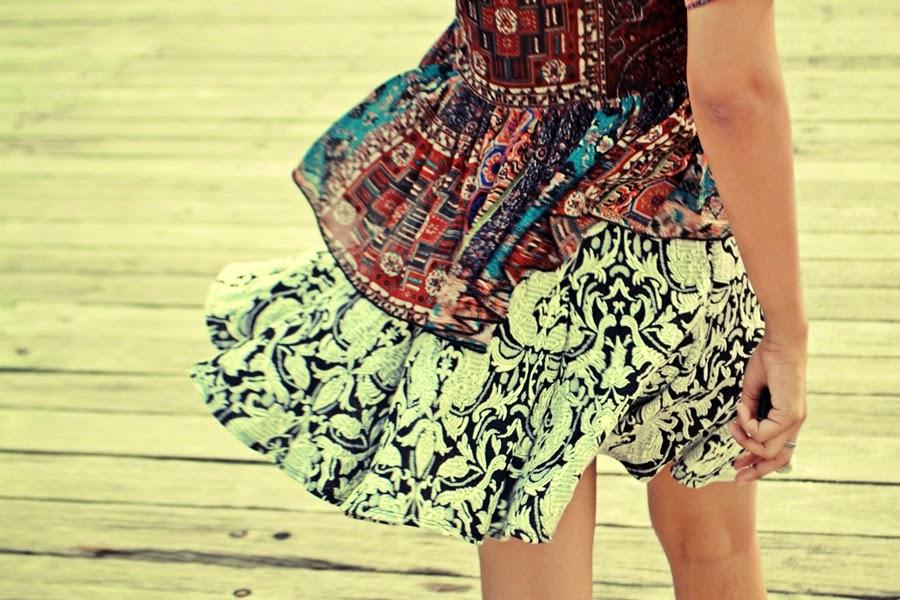 paisley, monochrome, paisley skirt, paisley top