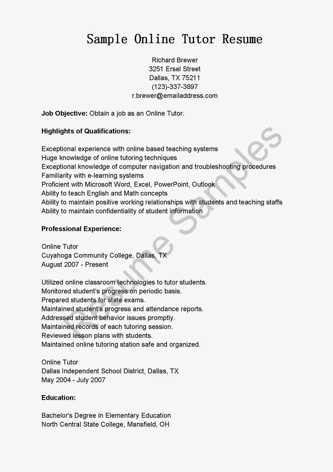 Resume For College Tutor