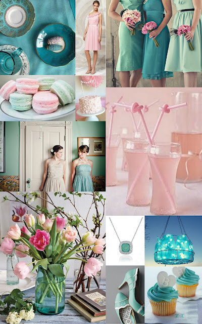 Teal Sea foam and Pink Wedding Inspiration Board 1 Snippet and Ink 2