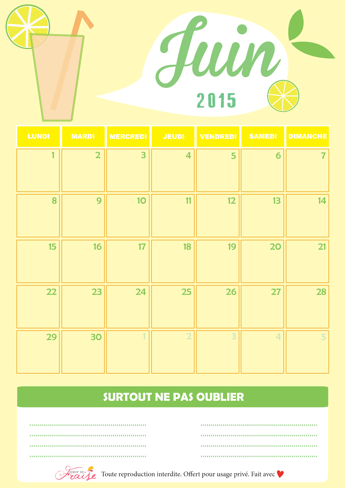 Mode lifestyle et diy calendrier diy juin 2015 free for Calendrier mural 2015