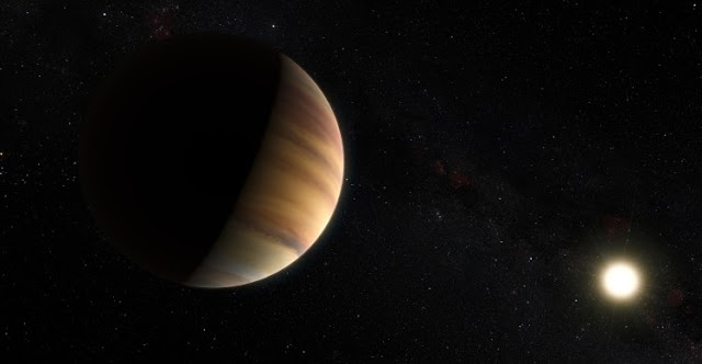 This artist's view shows the hot Jupiter exoplanet 51 Pegasi b, orbits a star about 50 light-years from Earth in the constellation of Pegasus (The Winged Horse). This was the first exoplanet around a normal star to be found in 1995. Twenty years later this object was also the first exoplanet to be be directly detected spectroscopically in visible light.