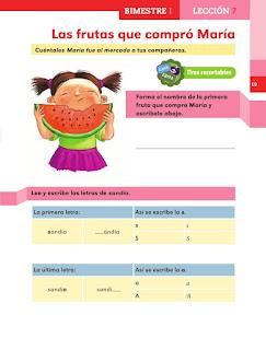 Apoyo Primaria Español 1er grado lección 7 Las frutas que compró María