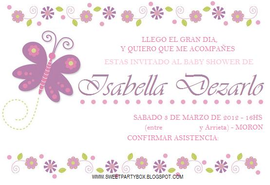 Invitación para baby shower de mariposa - Imagui