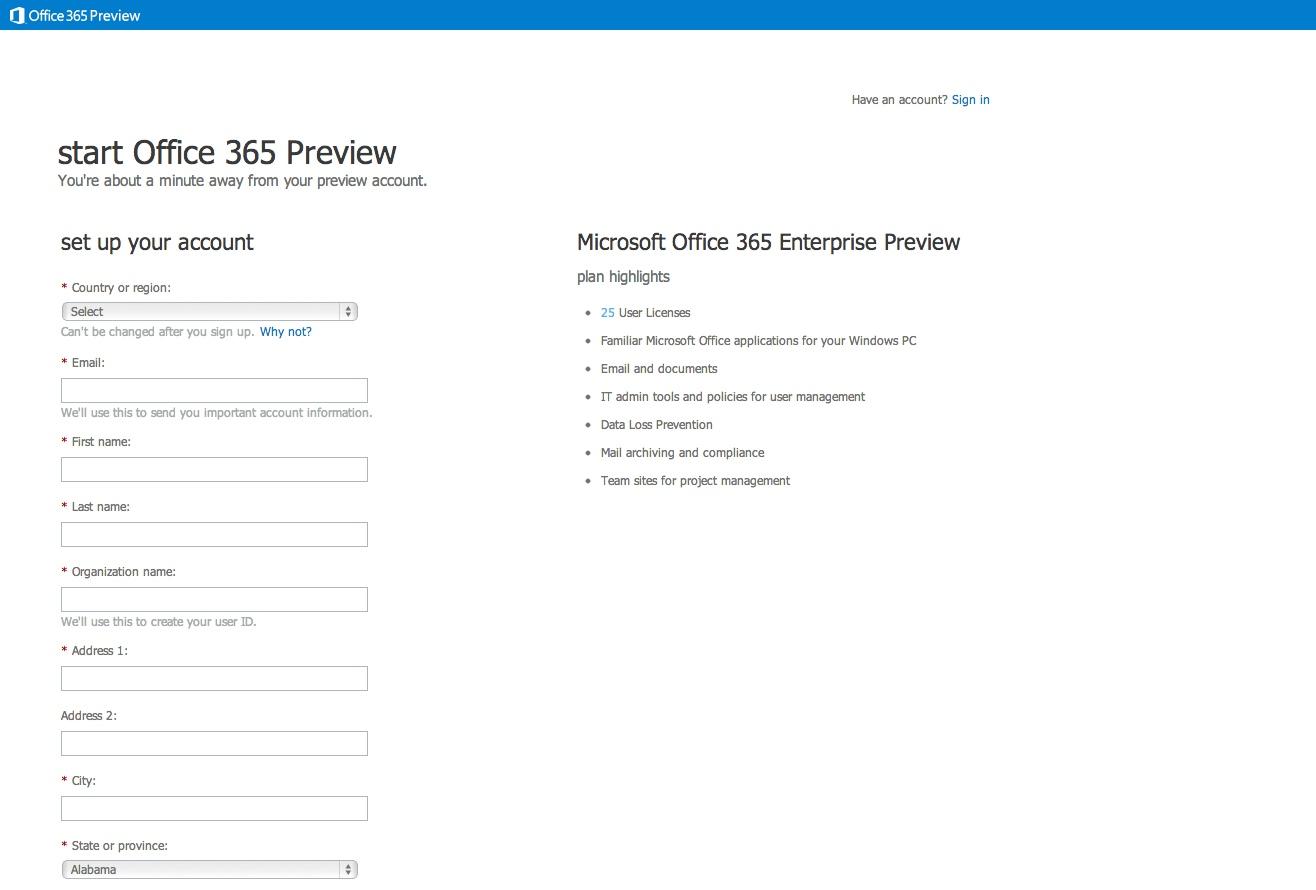 Fx mathieu microsoft mcitp office365 2013 2 cr ation d 39 un compte - Office 365 version d essai ...