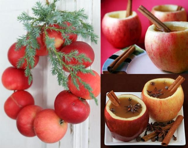 Венок из яблок и яблочная чашка