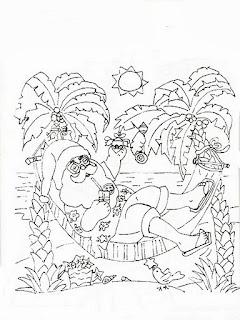 desenho papai noel deitado na rede