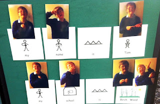 A board all about Tom, using Makaton symbols and photos of Tom signing