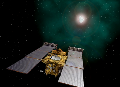 Stardust-NExT spacecraft approaches Comet Tempel-1. Artist impression. NASA, 2011.